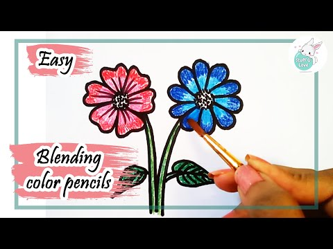 how to draw simple flowers drawing for kids using staedtler     how to draw simple flowers drawing for kids using staedtler watercolor  pencil