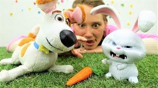 Детское видео. Герои мультфильмов и игры с игрушками! Макс из Тайной жизни и Гиджет нашли Кролика!