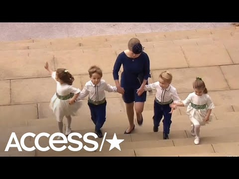 Princess Charlotte & Prince George Steal The Show Waving As They Arrive To Princess Eugenie's Weddin