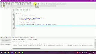 Example of a Celsius to Fahrenheit converter in C language