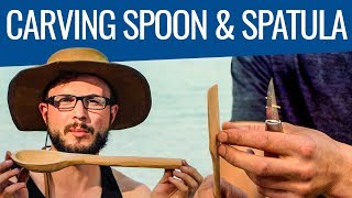 Bushcraft: Carving a Spoon and Spatula from Seasoned Birch and Camp Fire in the Rocky Mountains