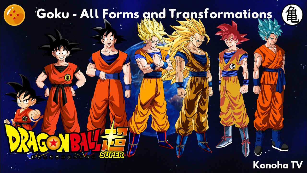 Goku - All Forms and Transformations (Update: Super Saiyan Blue + ...