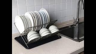 스테인레스 식기건조대 접시 그릇 수저 수납 선반 물받침…