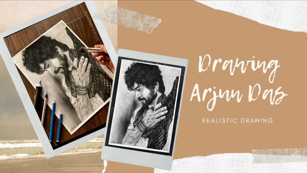 Arjun Das || Realistic pencil drawing Time lapse || Pencil portrait | Ritika Sridhar arts