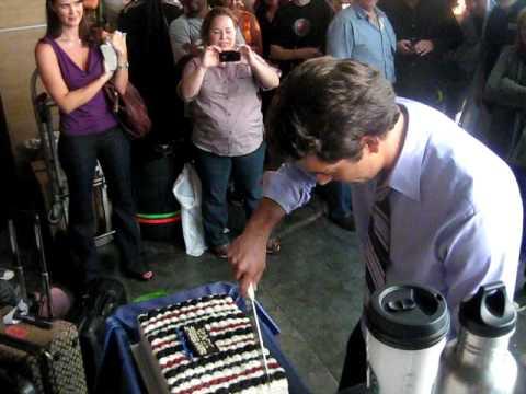 chuck behind-the-scenes crew sings 'happy birthday' to zachary levi