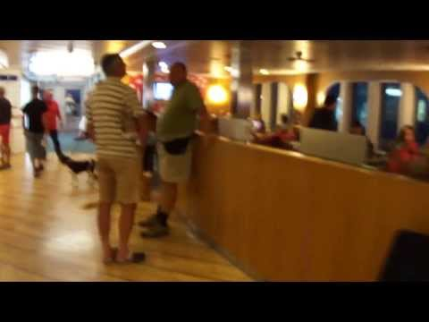 tour onboard huge luxury ferry ship Trelleborg while driving to Sweden HD