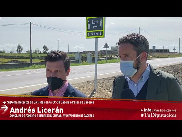 Diputación instala un sistema de detección de ciclistas en la CC-38 (Cáceres-Casar de Cáceres)