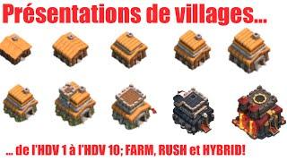 Clash of Clans - Présentations de Villages HDV 1 à HDV 10 - Farming , Rush et Hybrid [FR]