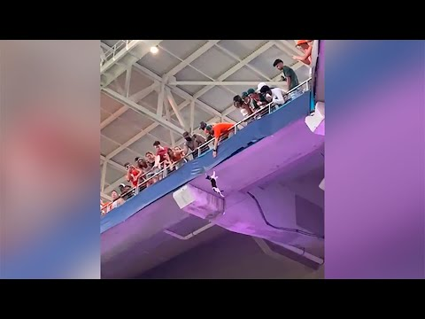 Watch-Miami-Fans-Using-American-Flag-To-Catch-Falling-Cat-at-Hard-Rock-Stadium
