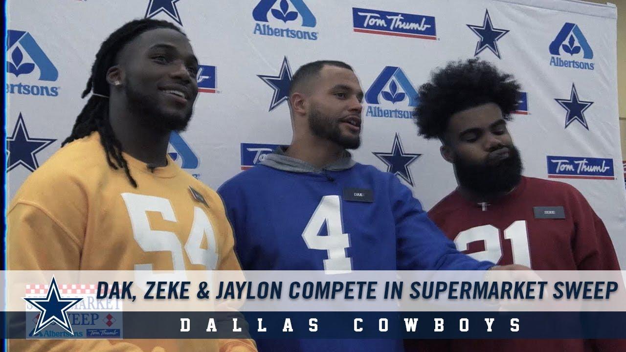 Ezekiel Elliott, Dak Prescott and Jaylon Smith Compete in Supermarket Sweep    Dallas Cowboys 2018