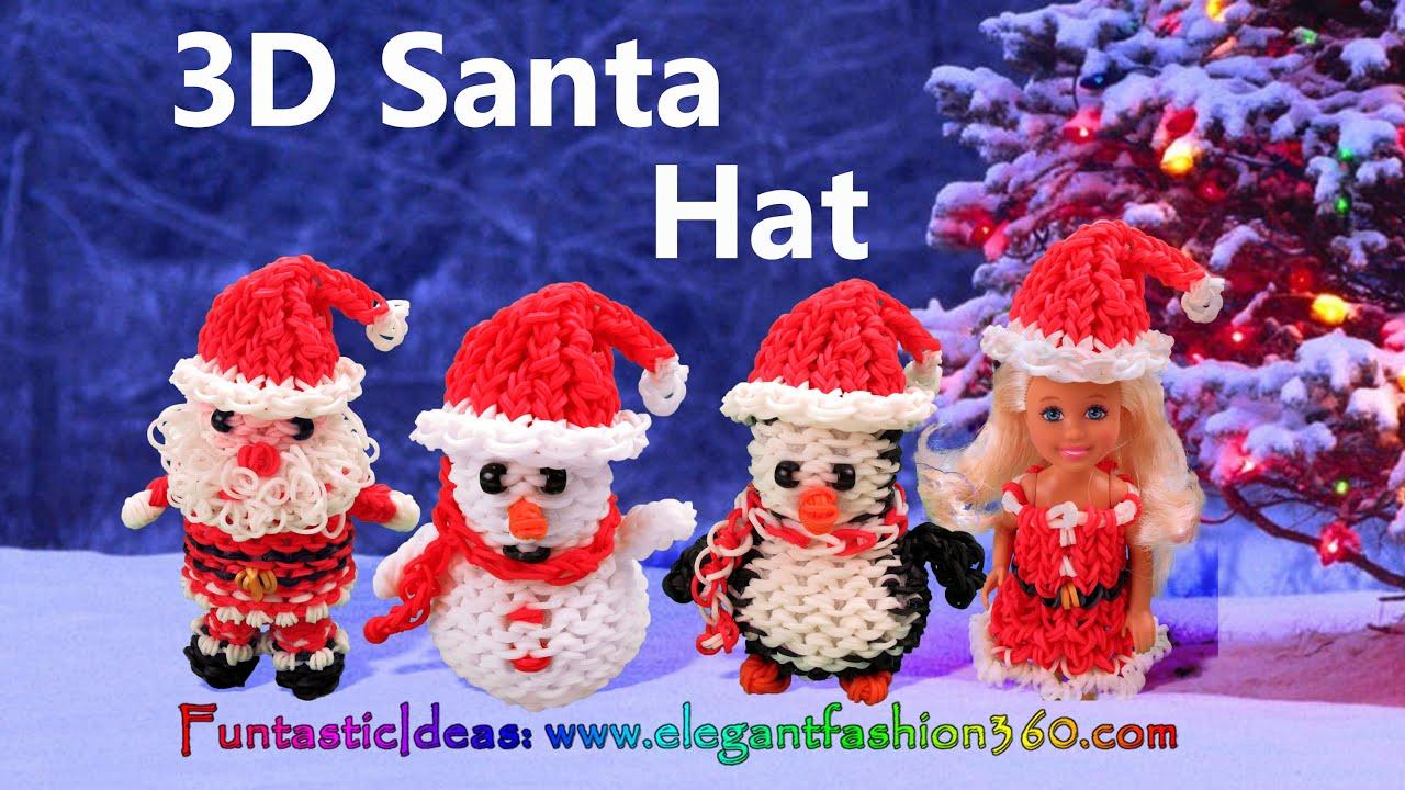 Rainbow Loom Santa Hat for Snowman/Penguin/Snata Claus/Barbie 3D - How ...