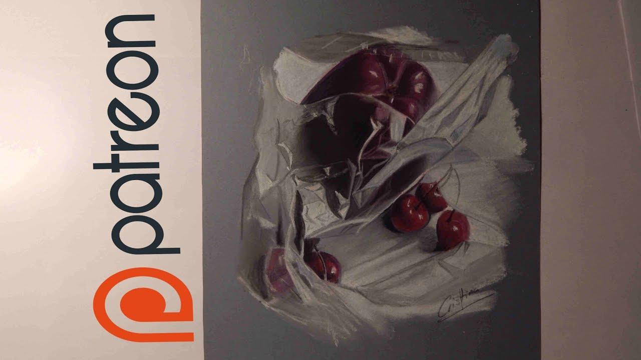 Dibujo de una manzana y cerezas en una bolsa - Lapiz pastel - YouTube