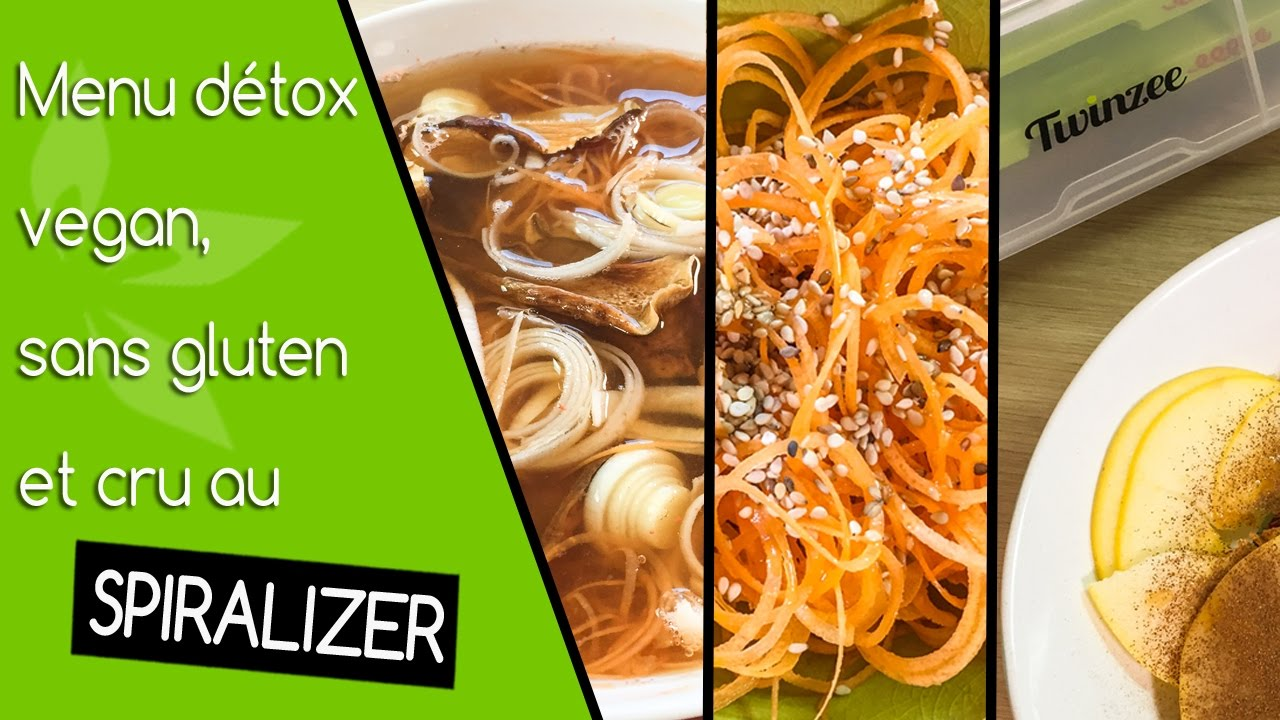 menu d tox 3 recettes vegan sans gluten au spiralizer youtube. Black Bedroom Furniture Sets. Home Design Ideas