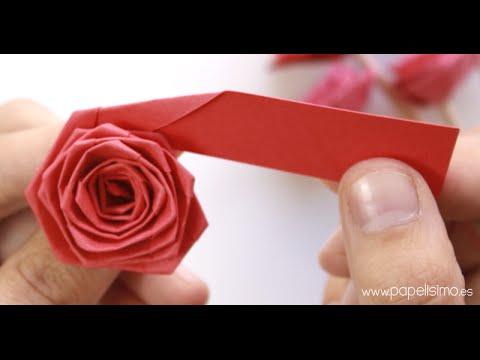 Papercraft Cómo hacer rosas con una tira de papel (tipo quilling)