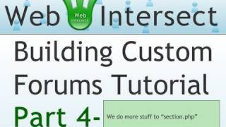 4. Web Intersect Forum Tutorial : Programming the section.php PHP Script