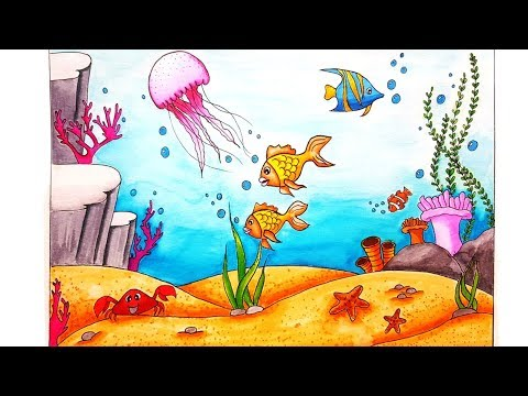 How To Draw An Underwater Scenery For Beginners |Step By Step