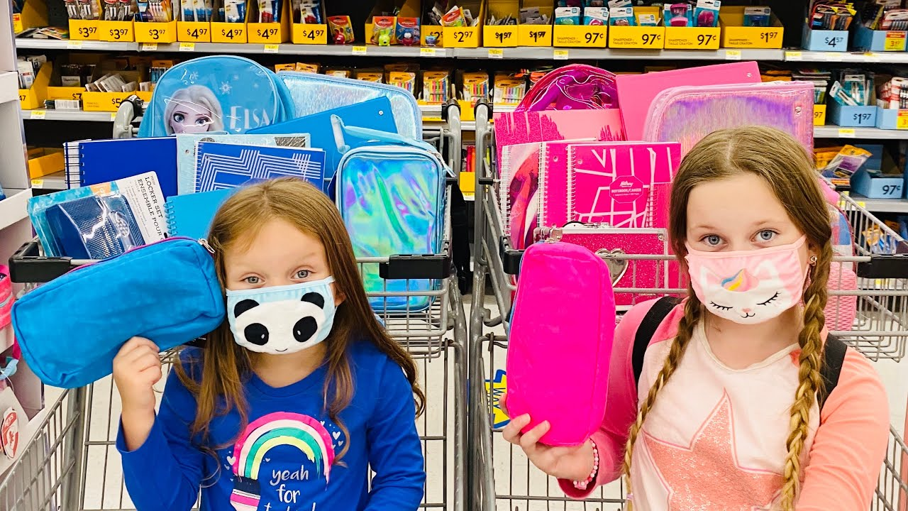 BLUE and PINK Back To School Shopping Haul Challenge with Sisters Play