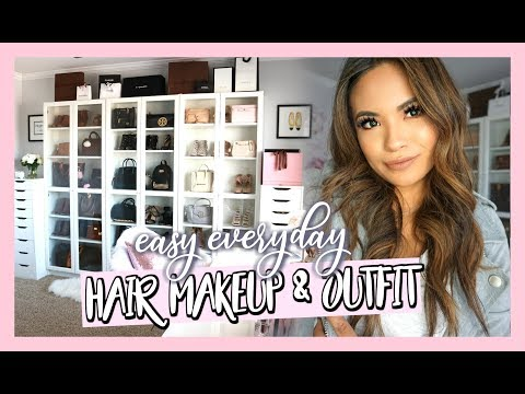 EASY EVERYDAY HAIR MAKEUP & OUTFIT | GET READY WITH ME IN MY GLAM ROOM thumbnail