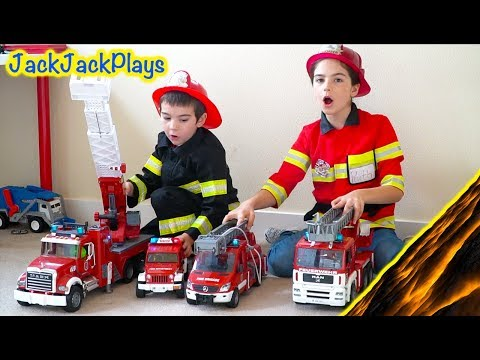Costume Pretend Play Firefighters, Fishing, Police - Playing Floor is Lava
