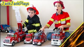 One of JackJackPlays's most viewed videos: Costume Pretend Play Firefighters, Fishing, Police - Playing Floor is Lava