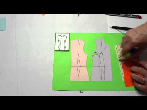 Моделирование. Оформление нагрудной вытачки на ткани в полоску