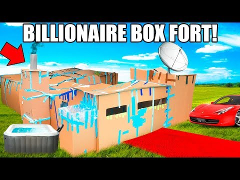 BILLIONAIRE BOX FORT MANSION!!📦💰 24 Hour Challenge: Movie Theatre, Hot Tub, Gaming Room & More! thumbnail