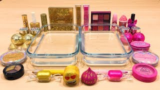 PINK vs GOLD ! Mixing Makeup Eyeshadow into Clear Slime ! Special Series #38 Satisfying Slime Video