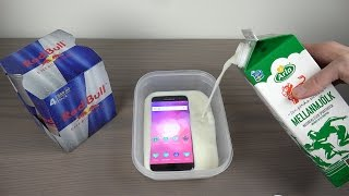 Samsung Galaxy S7 Edge Red Bull & Milk Freeze Test 8 Hours! Will It Survive?