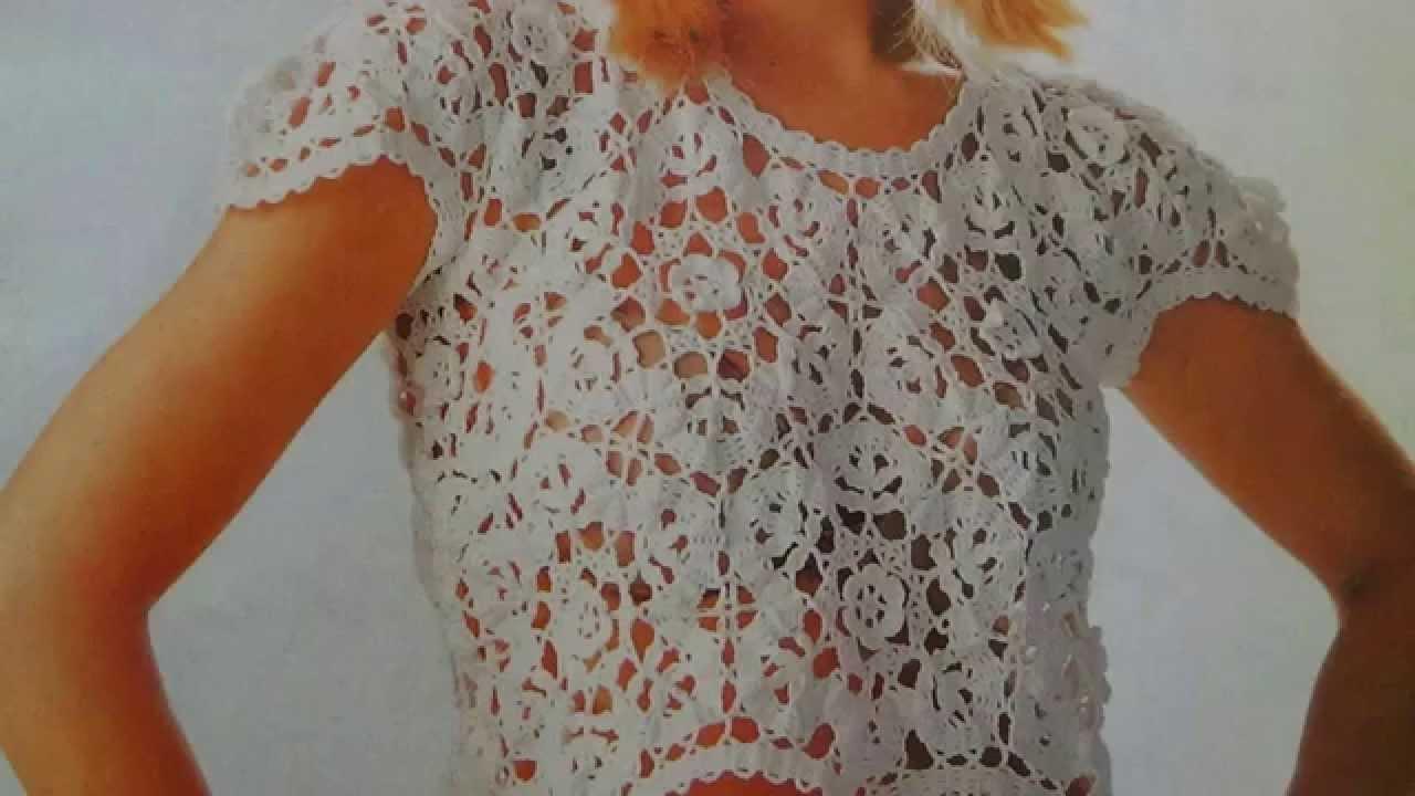Como hacer blusa tejida a crochet con encaje de brujas - YouTube