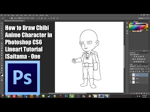 How To Draw Chibi Anime Character In Photoshop CS6 Lineart Tutorial [Saitama - One Punch Man]