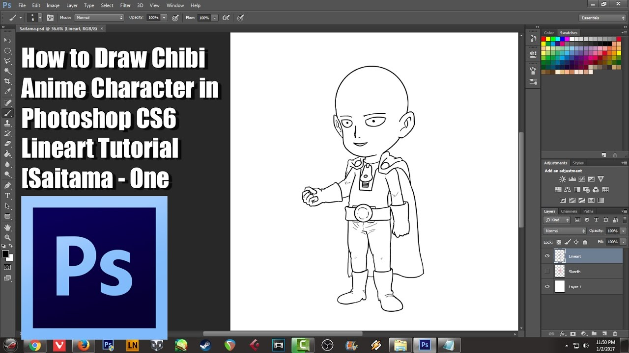 How to draw chibi anime character in photoshop cs6 lineart tutorial how to draw chibi anime character in photoshop cs6 lineart tutorial saitama one punch man youtube baditri Choice Image