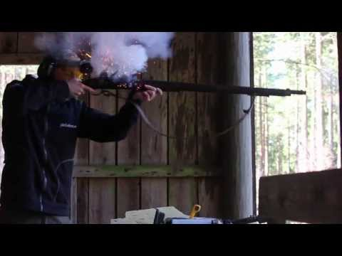 Swedish black powder military rifle fired in slo-mo
