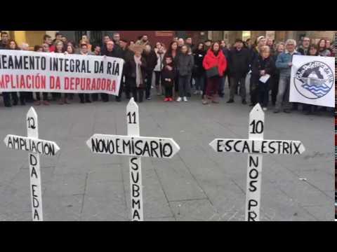 Protesta pola ampliación da depuradora de Pontevedra