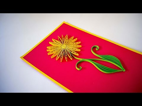 Quilling Sunflower using Comb - Quilled sunflowers handmade card - quilling for kids - DIY ❤️
