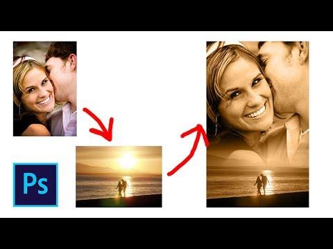 Как соединить две фотографии в фотошопе