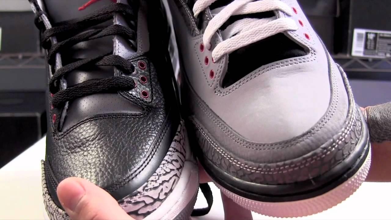 competitive price df0ab e0a33 Air Jordan 3 Stealth vs. Air Jordan 3 Black Cement 2011 Comparison ...