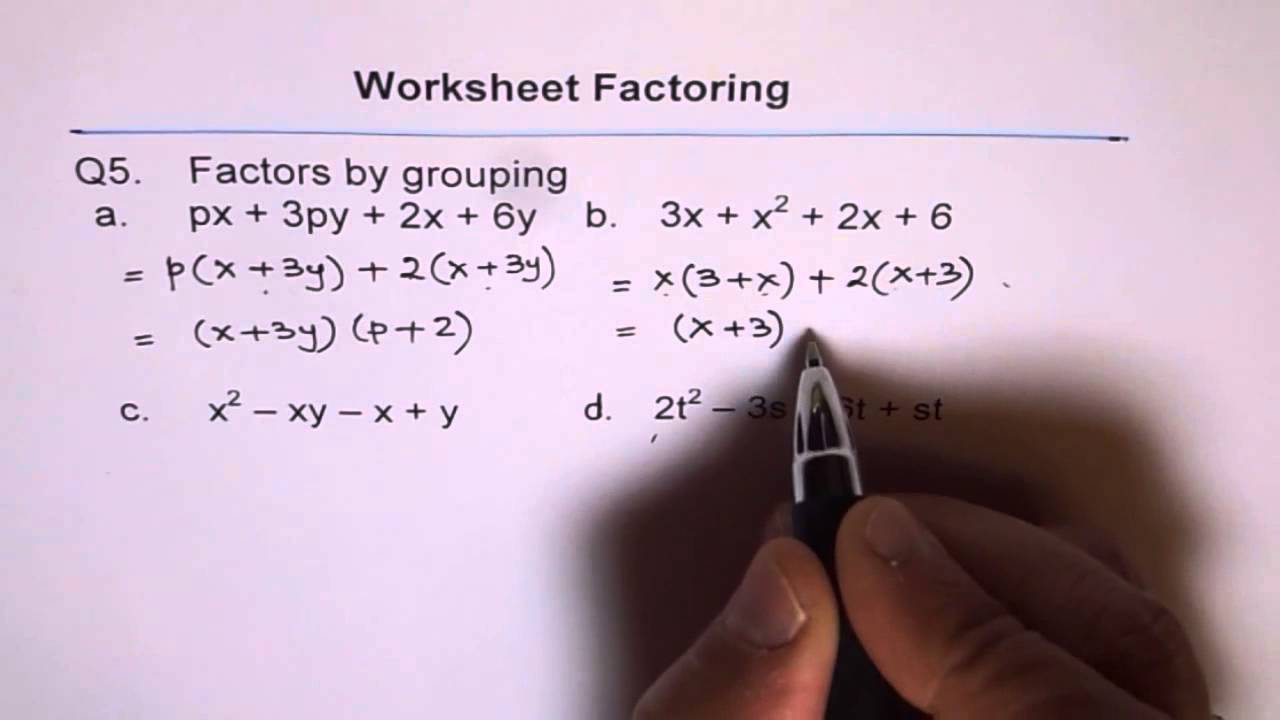 Factor By Grouping Worksheet 5 - YouTube