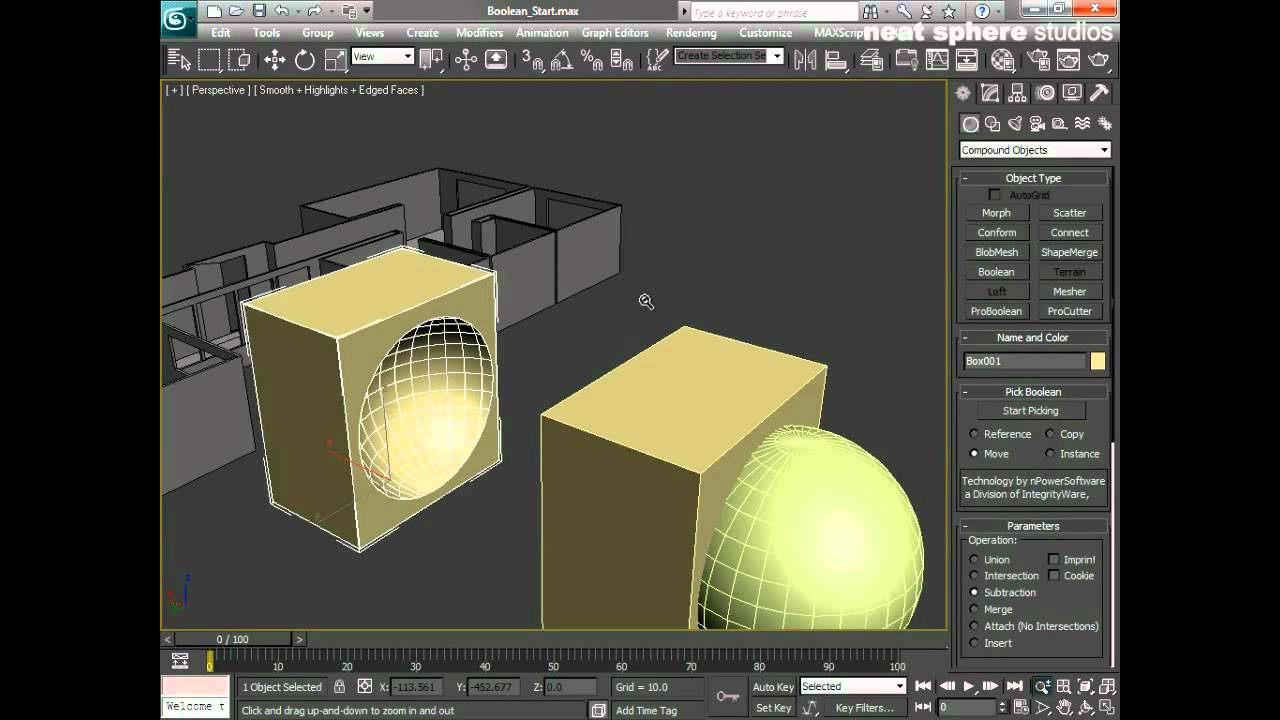Learn Autodesk 3ds Max  Chapter 6  Boolean operations