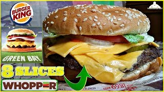 Burger King® | Green Bay Whopper™ Review! | 8 Slices of Cheese! 🧀🍔