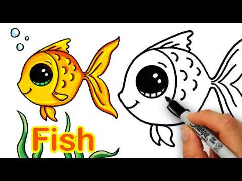 How to draw a cartoon fish cute and easy for Fish cartoon movie