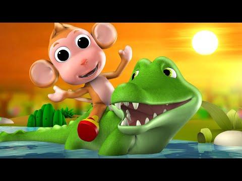 Monkey & Crocodile 3D Animated Hindi Moral Stories For Kids बंदर और मगरमच्छ हिन्दी कहानी Tales