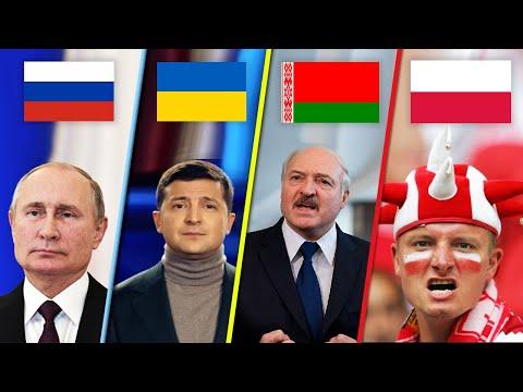 Сравнение русского, украинского, белорусского и польского языков.