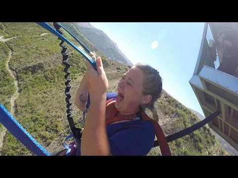 GIRL FREAKS OUT ON NEVIS SWING! QUEENSTOWN, NEW ZEALAND