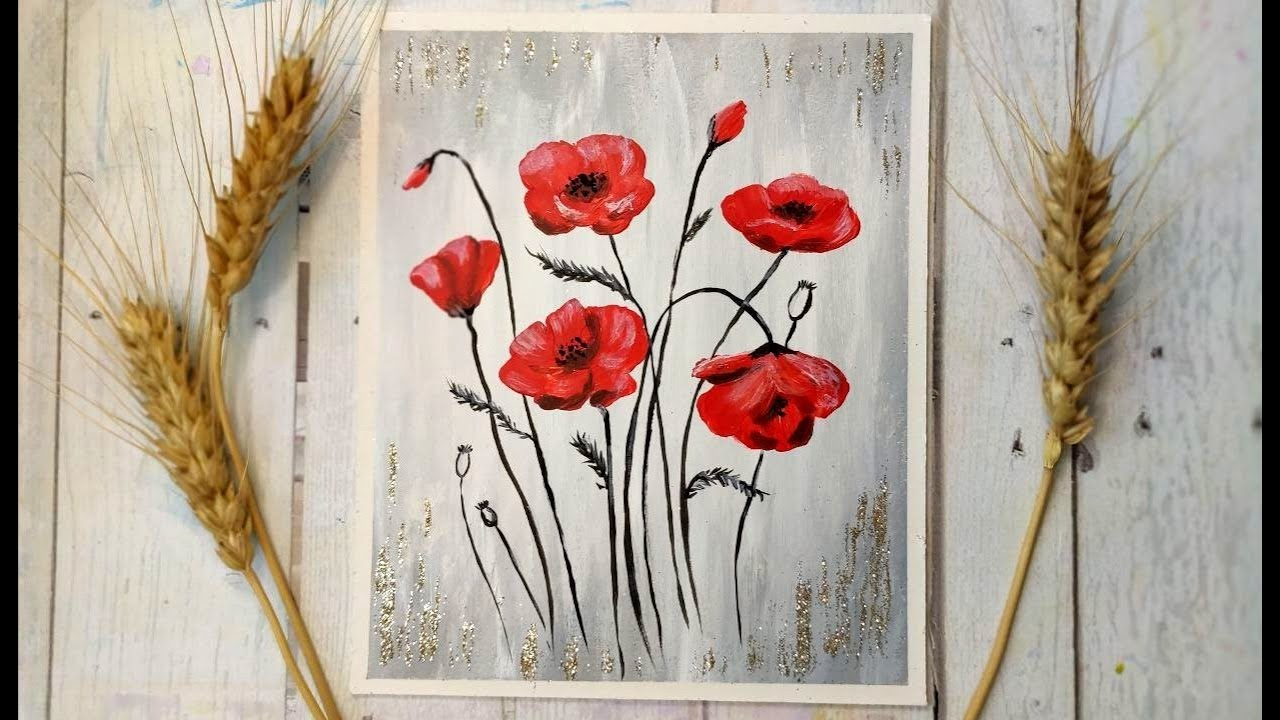 How to Paint Flowers   Poppies   Glitter   Painting ...