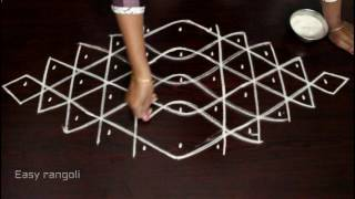 rangoli with 5 to 1 interlaced dots-muggulu-kolam-simple kolam-padi kolam-easy rangoli-rangoli art