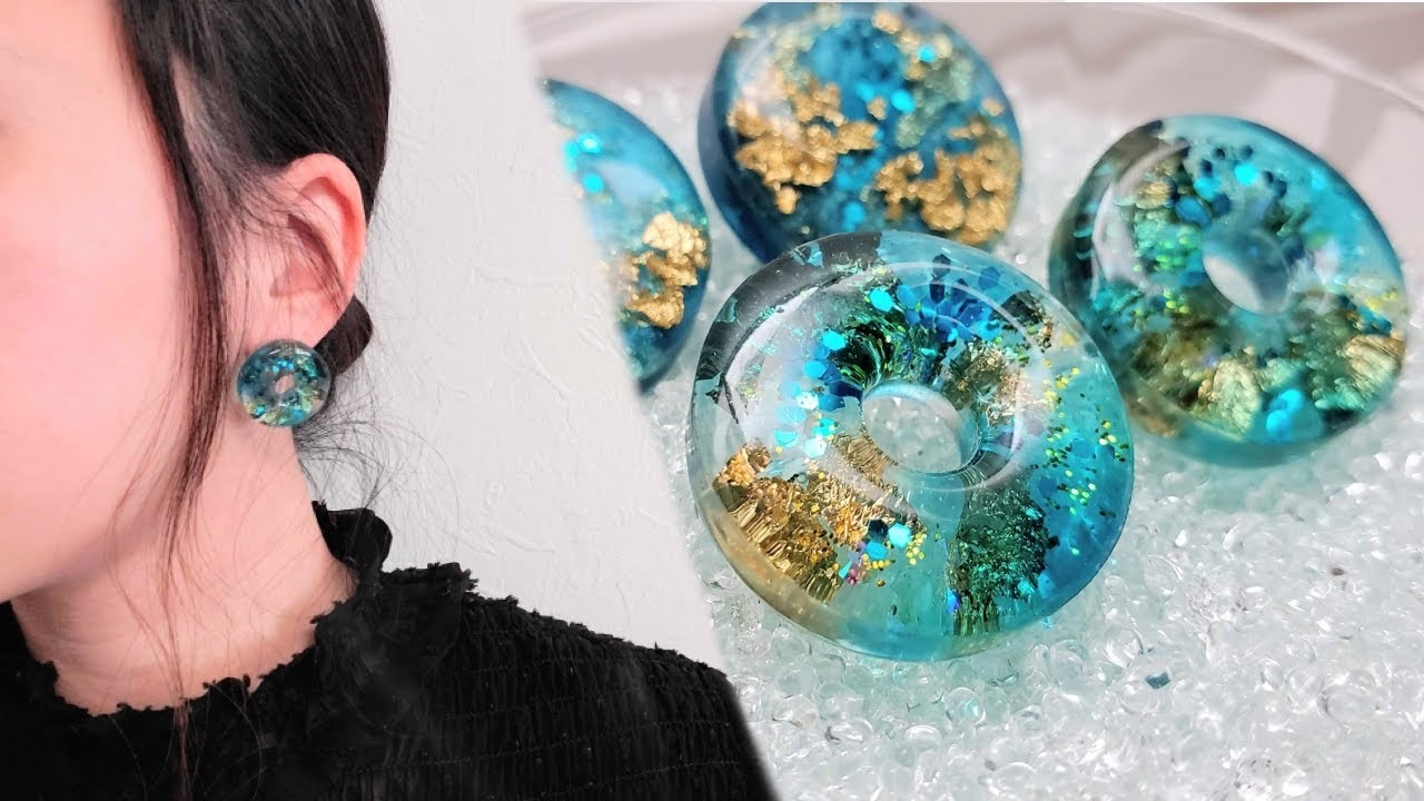 【UVレジン】透明感と奥行き感の春夏涼し気ピアス/I made a cool spring and summer cool earring with transparency and depth