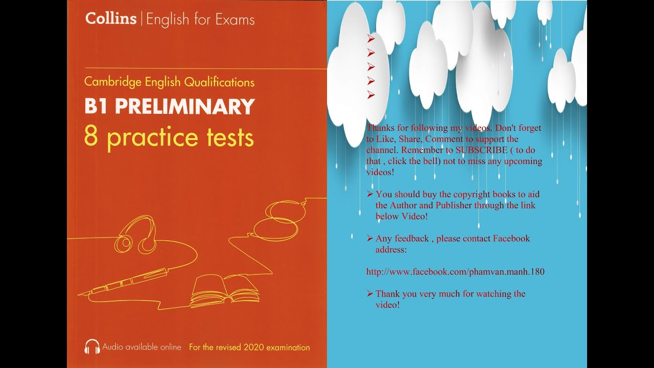 Test 1 Collins B1 Preliminary 2020 Format Cambridge English Qualifications Youtube