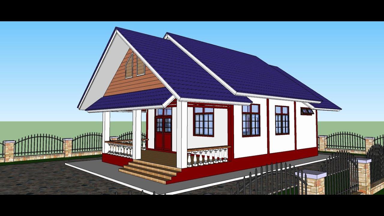 บ้านพักอาศัย หลังคาทรงจั่ว ขนาด 1 ห้องนอน 1 ห้องน้ำ