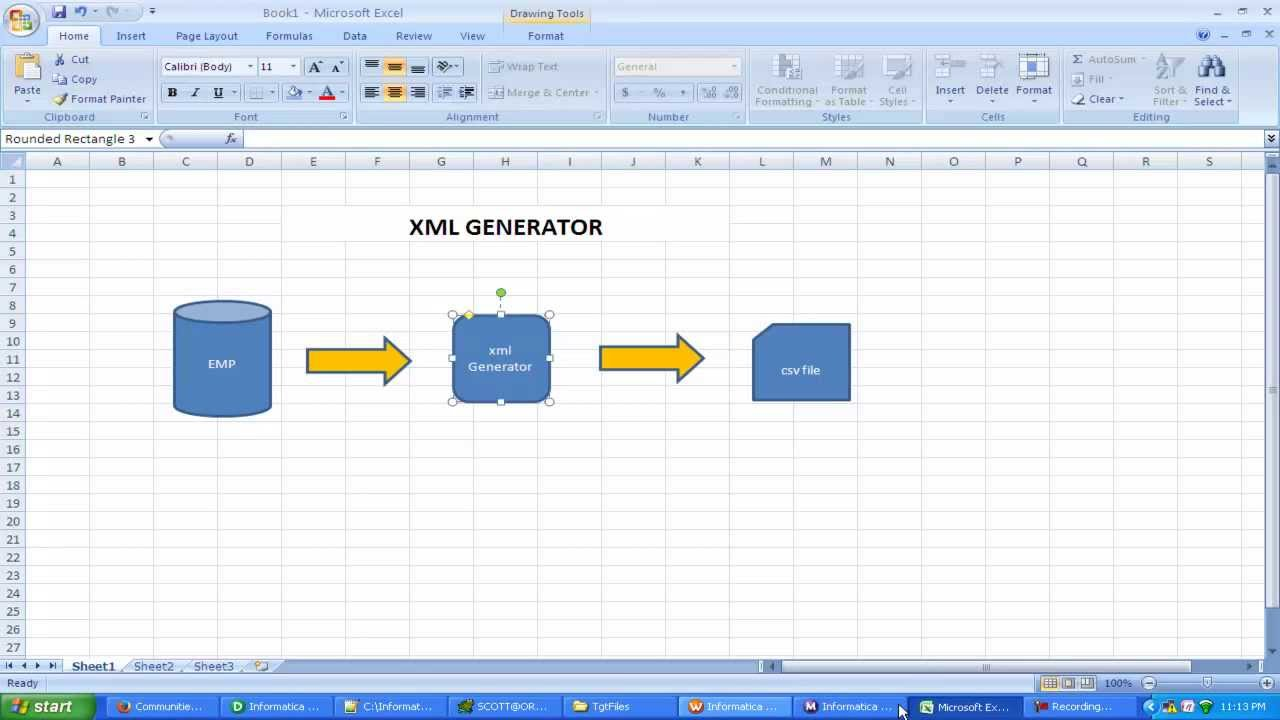 XML Generator transformation scenario in INFORMATICA by manish