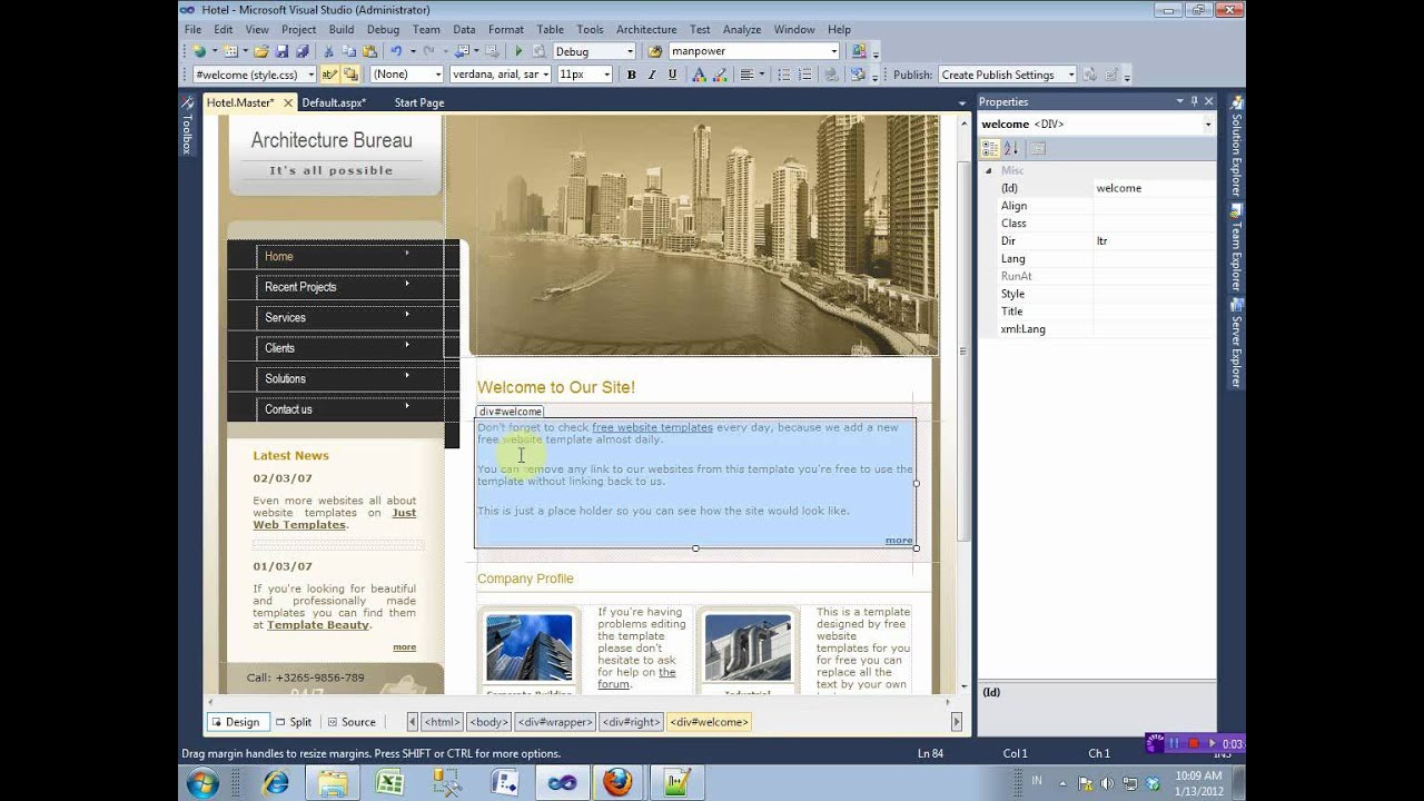 Master page asp net with free template youtube for Asp net master page templates download